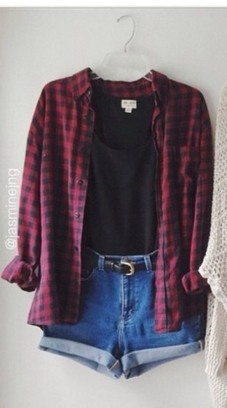 shirt plaid shirt red black