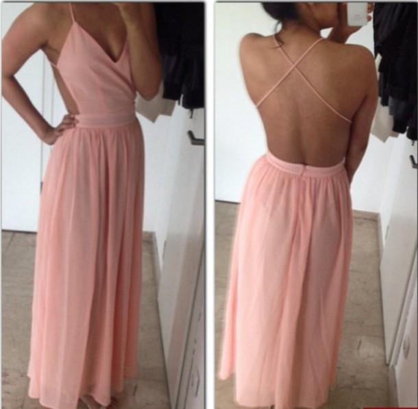 dress dress long open backless floor length