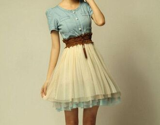 dress denin top dress blue dress beige skirt