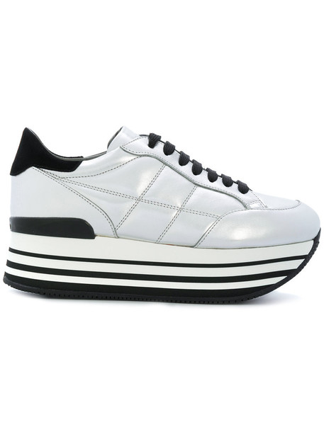 Hogan maxi women sneakers leather grey shoes