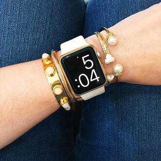 jewels watch apple apple watch jewelry bracelets gold bracelet stacked bracelets stacked jewelry accessories accessory