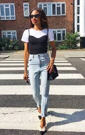 jeans,ripped jeans,crossbody bag,top,white t-shirt,black sunglasses