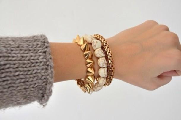 jewels skull spikes gold white bracelets skull jewelry stacked bracelets
