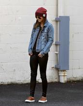 to be bright,blogger,denim jacket,beanie,sneakers,pants,jacket,hat,black leather pants,leather pants,black pants