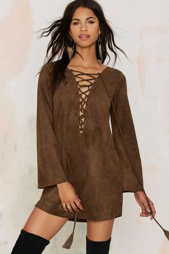 dress suede lace up 70s style