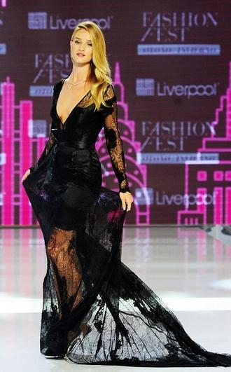 dress lace dress rosie huntington-whiteley maxi dress black fashion week 2014