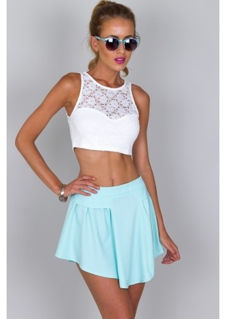 skirt dip skirt mint skirt long at front and back