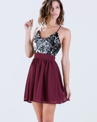 dress silver sequins burgundy party dress chiffon short dress burgundy dress