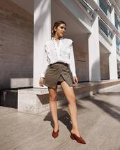 shoes,skirt,mini skirt,tumblr,suede,suede shoes,mules,shirt,white shirt