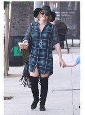 dress,shirt,shirt dress,hilary duff,fall outfits,plaid shirt,flannel shirt,boots,hat