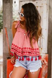 top,shorts,tumblr,tassel,red top,summer shorts,summer outfits,denim,denim shorts,sunglasses