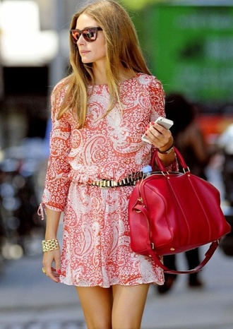 red and white pattern olivia palermo dress