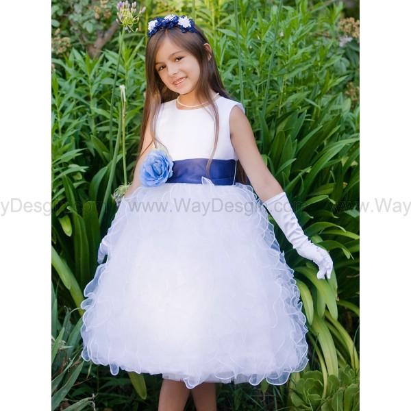 Blossom White Satin Bodice Ruffled Organza Skirt