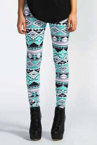 pants leggings pattern detailed turquoise