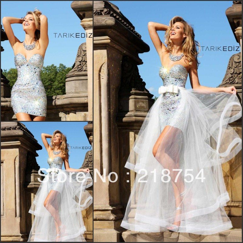 Hot Sale Sweetheart Sheath Beaded Ivory Short Prom Dresses Party Gonws 2014 With removable skirt-in Prom Dresses from Apparel & Accessories on Aliexpress.com