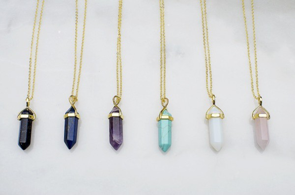 products chains stone for leather pendants necklaces pink jewelry natural crystal hexagonal purple column necklace women fine pendant