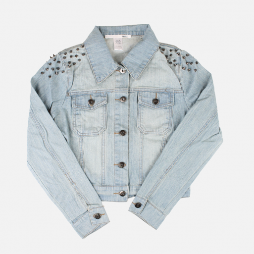 ELLISON SPIKE SHOULDER DENIM JACKET