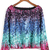 Boat Neck Ikat Neat Awesome Sequined Top -SheIn(Sheinside)