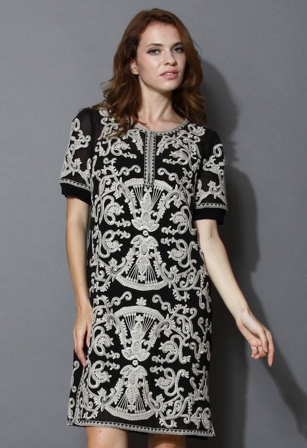chicwish retro baroque embossment shift dress