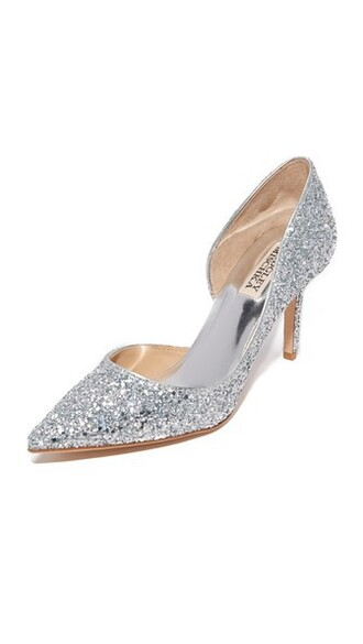 glitter daisy pumps silver shoes