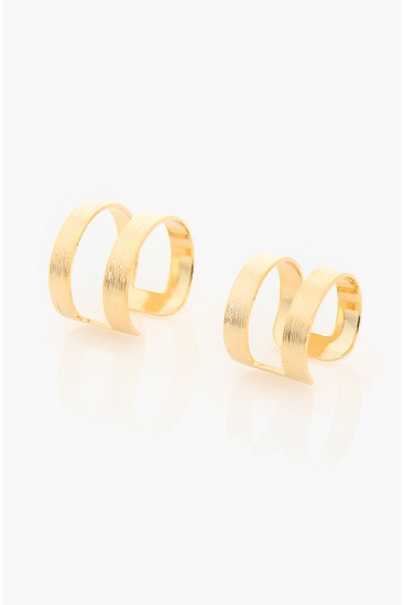 LoveMelrose.com From Harry & Molly | Double Layer Band Ring Set - Gold