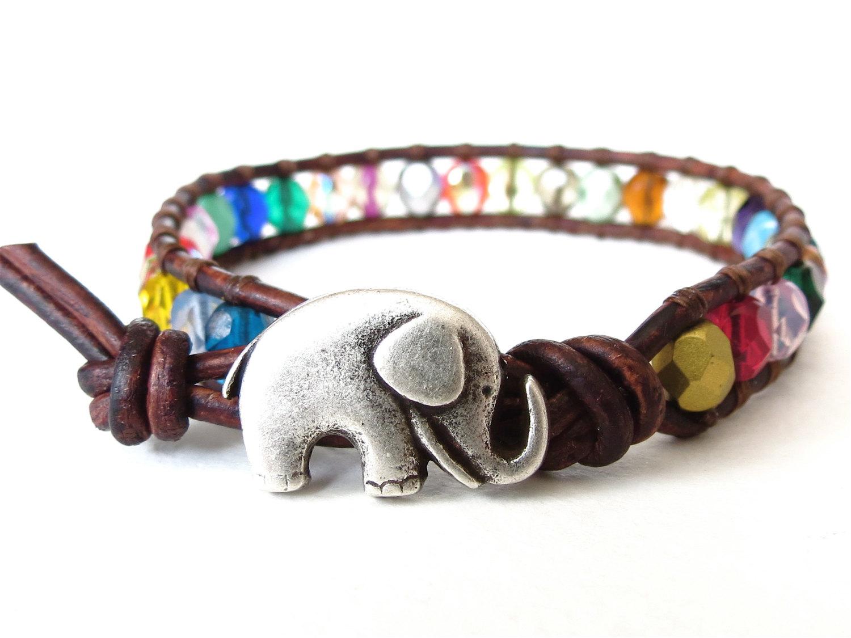 Elephant bracelet with colourful beads, rainbow color wrap bracelet for kids, gift for best friend, friendship bracelet