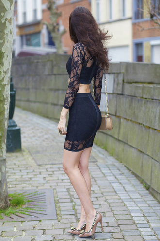 from brussels with love blogger two-piece black crop top lace top bodycon bodycon skirt lace skirt