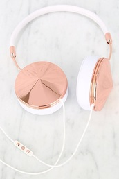 earphones,rose gold,friendsheadphones