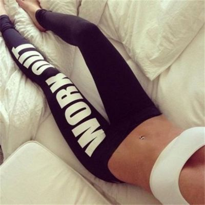 Work out black letter print leggings · fashion struck · online store powered by storenvy