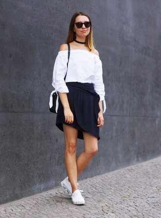 cruel thing blogger top shoes skirt bag blue skirt asymmetrical asymmetrical skirt off the shoulder off the shoulder top black choker choker necklace sunglasses black sunglasses low top sneakers white sneakers sneakers