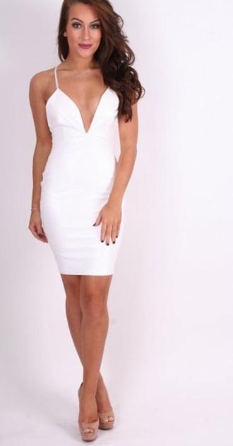 dress plunge dress white midi bodycon