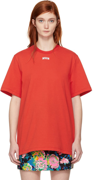 MSGM t-shirt shirt t-shirt college red top