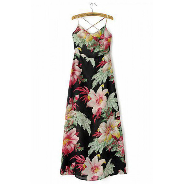 floral dress maxi dress spaghetti strap summer outfits beach dress