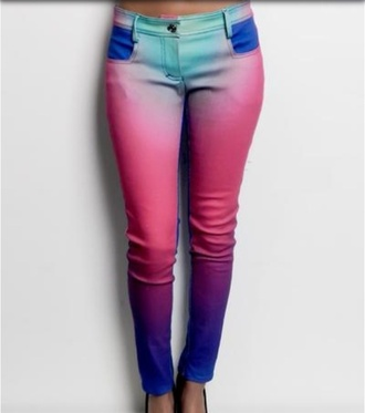 pants skinny jeans multicolor cute multi-colored pants jeans rainbow