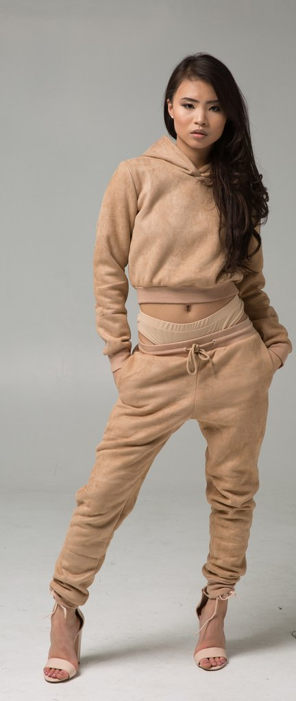 Faux Suede Cropped Thermal Tracksuit in NU3