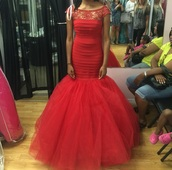 dress,red dress,fit and flare dress