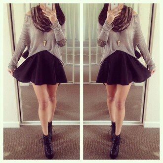 top studded striped top stripes striped sweater sweater skirt skater skirt cute outfits cute booties black lace booties black lace black lace laced laced booties boots black boots winter outfits fall outfits scarf infinity scarf