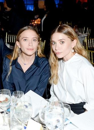 blouse olsen sisters pearl earrings