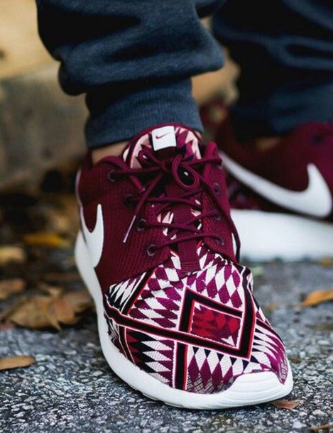 8f05ea18f03c shoes maroon nike roshe nike roshe run nike shoes nike sneakers nike  burgundy sneakers aztec