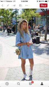 dress,t- shirt dress,shirt dress,gold,gold purse,crossbody bag,vans,puma,shoes,denim,denim dress,white,high top sneakers,white shoes,blue dress,denim shirt