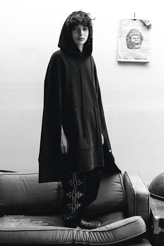 blouse hoodie black young  actor sweater finn wolfhard stranger things sweatshirt