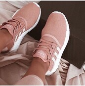 shoes,adidas,pink,sneakers,adidas shoes,pink shoes,trainers,blush pink,rose gold,addias shoes,pink mauve baby pink adidas,rose,pretty,love,fashion,women,sport shoes,snickers,salmon,blush,pink sneakers,white sneakers
