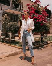jacket,blazer,white blazer,jeans,pants,denim,top,sunglasses,bag,shoes