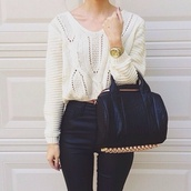 sweater,jeans,bag,black bag,black,rivets,nice,leather,gold,white sweater,leather bag,leather purse,purse,studded bag,alexander wang bag,white knitted sweater,alexander wang,leather pants,black leather pants,high waisted pants,gold watch,gold boyfriend watch,duffle bag