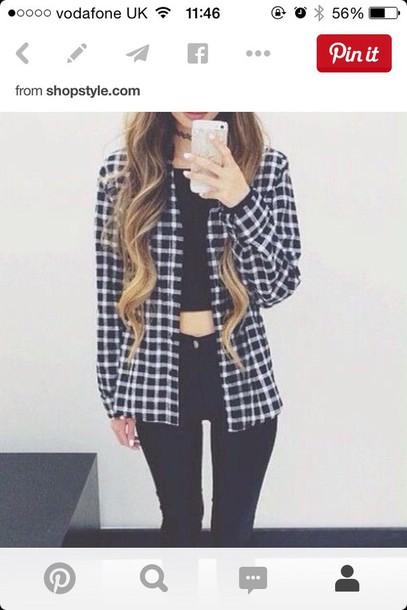 cardigan shirt jacket grunge plaid plaid jacket flannel shirt flannel black and white black white grunge pinterest outfit pinterest