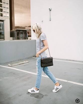 t-shirt tumblr grey t-shirt denim jeans ripped jeans bag black bag sneakers adidas adidas superstars shoes