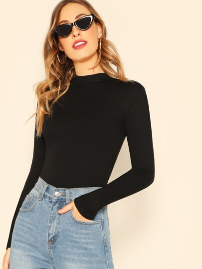 Mock-neck Slim Fitted Tee