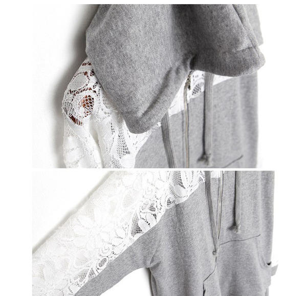 Lace Panel Hooded Jacket, Light Gray , One Size - JVL | YESSTYLE