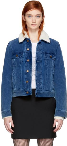 Saint Laurent jacket shearling jacket blue