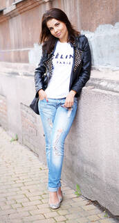 a piece of anna,jacket,t-shirt,bag,jeans,shoes,embellished leather jacket